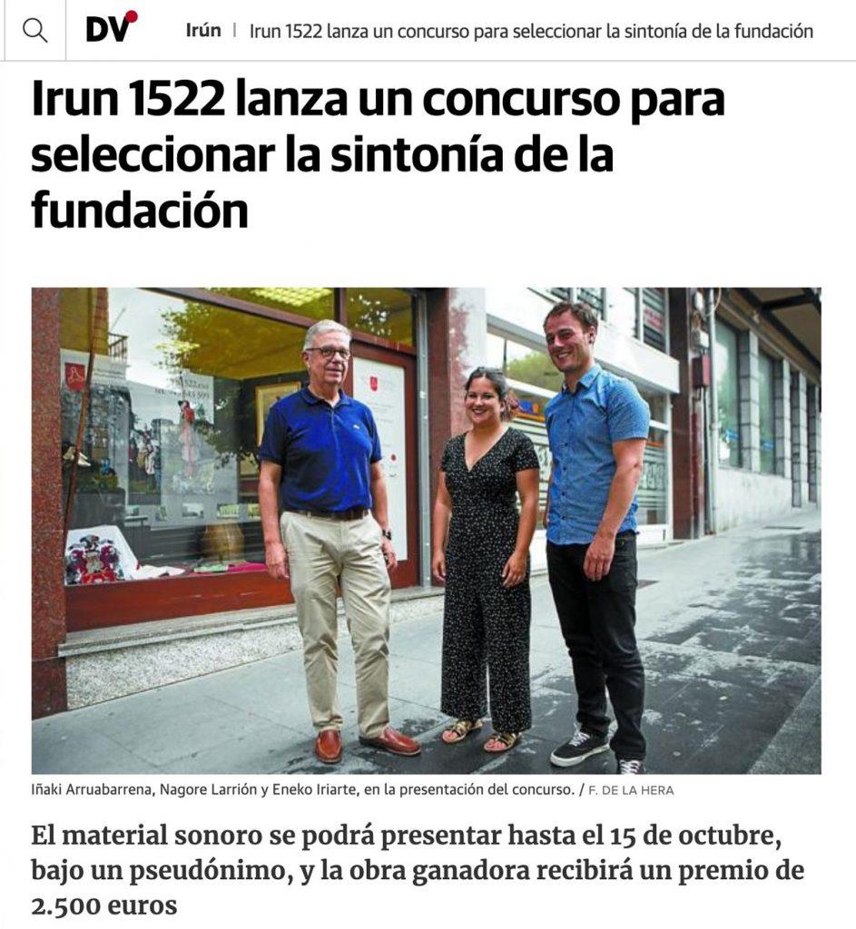 Noticia en Diario Vasco sobre el concurso de la sintonía de Irun 1522