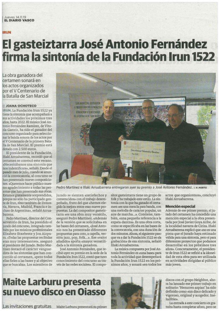 El Diario Vasco - «El gasteiztarra José Antonio Fernández firma la sintonía de la Fundación Irun 1522»